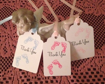 Twin baby shower tags, Twin thank you tags, Twin baby shower gift tags, Twin favor tags, Twin girls tags, Twin boys tags, Baby Footprints