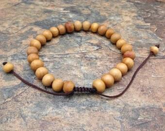 Tibetan Natural Wood Beads Adjustable Sliding Knot Bracelet