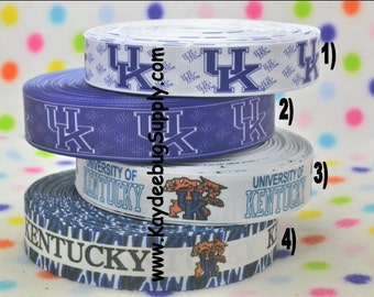 3 yards Univeristy of Kentuck UK WIldcats - 7/8 inch or 1 inch - Printed Grosgrain Ribbon CHOOSE DESIGN