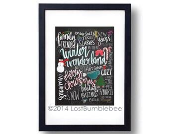 Winter Wonderland! Hand drawn Hand Lettered / Handlettered Chalkboard Background- Instand Download, colourful, winter, chalk art, chalkboard