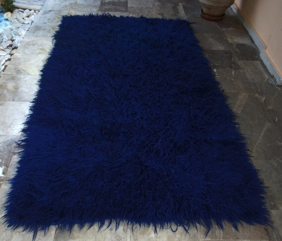 Vintage Royal Blue Flokati Rug   Area Carpet Shaggy Wool Handwoven Greek  Folk Art   4.2