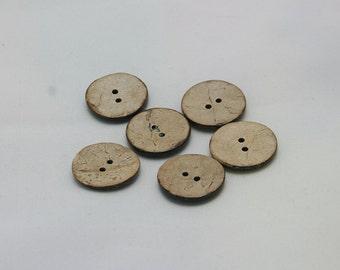 6 pieces, 25 mm, 2 holes, coconut buttons