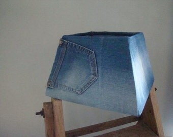 Eco jeans lampshade recycled Italian leather home decor gift zen minimalistic homeliving. From JJePa
