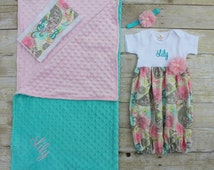 Baby Gift Set - Pink & Aqua Paisley - Going Home Outfit - Baby Layette - Keepsake - Blanket - Baby Shower