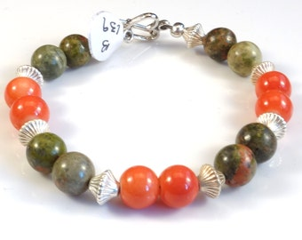 Tangerine Orange and Olive Green with Silver Accents Women's stackable bracelet, stacking bracelet, statement bracelet, beaded bracelet