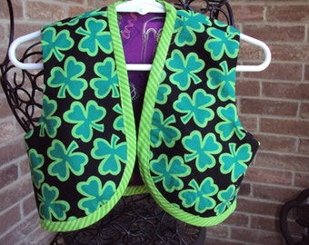 St Patricks Day vest-- reverses to Mardi Gras vest  create your own costume  two vests in one, OOAK childs vest