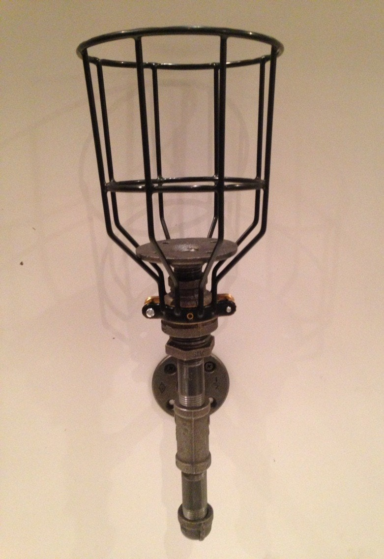 Industrial Candle Wall Sconces : Industrial black pipe candle sconce with by CUTTINGEDGECRAFTSMEN