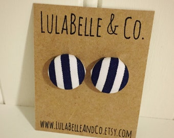Navy Stripes Button Earring