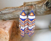 Handmade, Handbeaded Earrings, Denver Broncos Inspired, Blue, Orange and White Czech Glass Seed Bead, Team Spirit