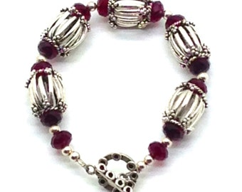 Vibrance!,Swarovski Crystals,Red,Sterling Silver, Beads,Beaded Bracelet,Bracelet,Toggle Closure,Gift Idea,Gift for Her,Silver,Red,Holiday