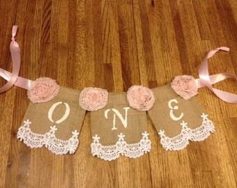 Baby's First Birthday High Chair Banner; Regular Burlap banner, Shabby Chic, Pearls, Lace, Girlie, Burlap, Lace and Ribbon