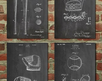 Baseball Patent Posters Group of 4, Baseball Gifts, Baseball Mom, Baseball Bat, Baseball Glove, Baseball Coach, PP1179