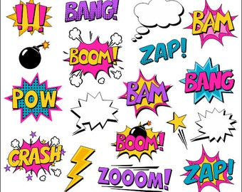 Superhero Girl Clipart Comic Book Clip Art Comic Text Speech Bubbles - Boom, Zap, Bang, Bam, Crash, Pow Sounds Sayings - YDC070