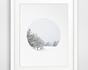 Winter Art, Snow Photography, White Circle, Snow Wall Art, Winter Print, Winter Wall Prints, Snow Art, White Decor, White Decor