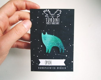 Space wolf brooch,  galaxy wolf, emerald green, Orion constellation, brooch, star brooch, wolf totem, miniature wolf, animal brooch