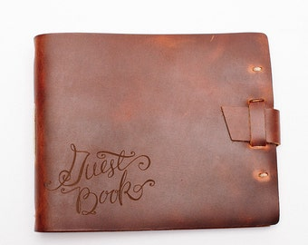 Wedding Guest Book, Leather Guest Book with lined pages, Home Guest Book