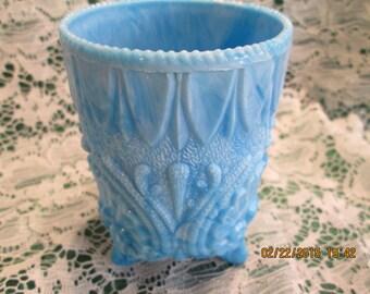 Rare pale blue decorated slag glass