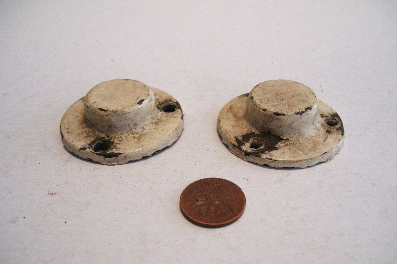 Antique cast iron ends caps for dowel rod closed brackets