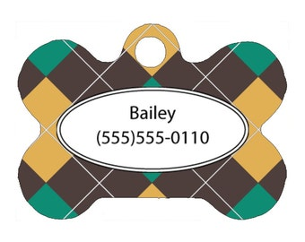 Pet Tag, Dog Tag, One Sided Personalized Pet ID Tag, Bone Shaped Pet Tag, Aluminum, Argyle Design, Argyle Pet Tag