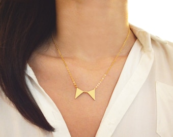 A-150 Gold personalized double triangles necklace, Hand stamped initial, Geometric, Gold filled
