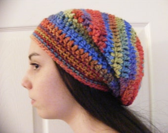 Crocheted Slouchy Hat, Rainbow Slouchy Hat, Crocheted Hat,