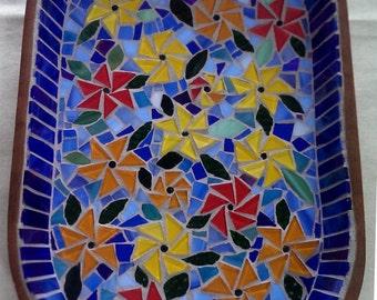 Flower Pattern Mosaic Tray