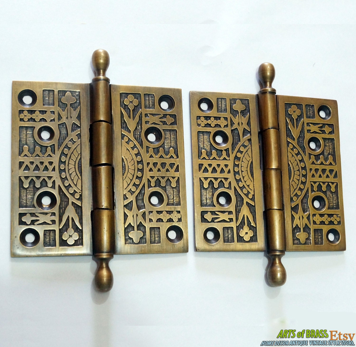 🔎zoom - Pair / 2 Pcs Antique Vintage Solid Brass Large Door HINGES