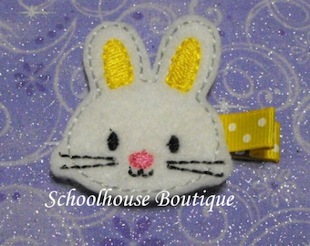 Yellow Easter Bunny Rabbit Felt Hair Clips, Easter Basket Filler,Feltie hair clip, Feltie, Felt Hair Clippie, Felt Hair Bow