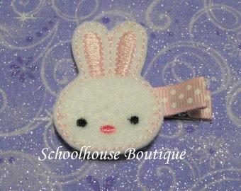Pink Bunny felt Hair Clips, Easter Basket Filler, Felties, Felt Hair Clips, Felt Hair Clippie, Hair Accessories