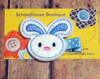 Blue Bunny felt Hair Clips, Easter Basket Filler, Felties, Felt Hair Clips, feltie hair clip, Felt Hair Clippie, Hair Accessories