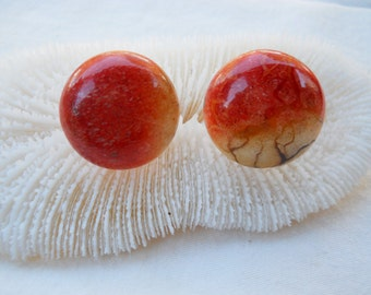 Vintage Orange Coral Button Earrings