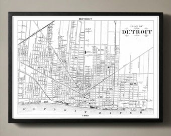 DETROIT Map Print, Black and White Detroit Wall Decor