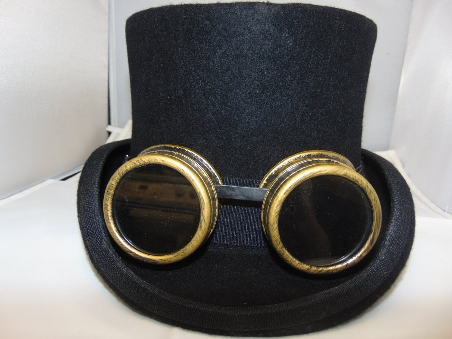 Wool Steampunk Goggles Unisex Top Hat by Thehatzmeow on Etsy