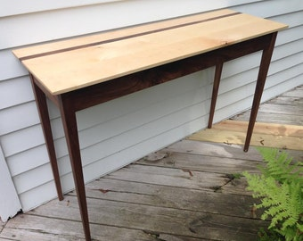 Walnut and Maple Console table