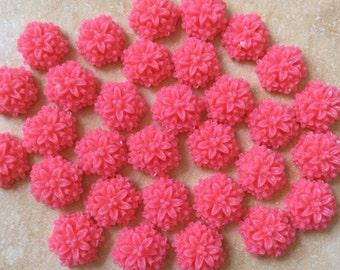 New...6 pcs 14 mm Resin Flowers,Deep Pink,light cabochon Flower,hot pink resin flower,14 mm deep pink flower,dark pink cabochon flower