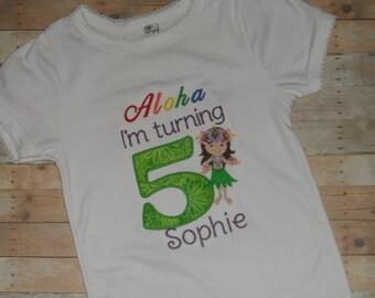 Baby Toddler Girls custom applique birthday shirt  aloha hawaiian hula girl 2t 3t 4t 5t 12 month