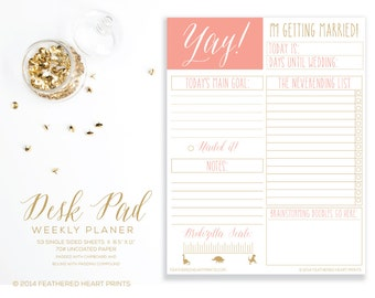 Wedding Planning Desk Pad- Bridezilla Scale Funny- Bride to Be Planning Notepad- Daily Planning Notepad- To Do List - I'm getting married!-