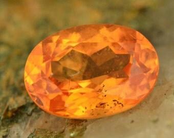 Oval Orange Spessartite Garnet, I, 1.39ct, 7.6 x 5.50mm, Fanta orange colour, no brown modifiers