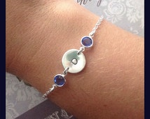 Sterling Silver Disc Bracelet with Birthstones on Each Side - Hand Stamped Initial Colored Crystal Bracelet - Personalized Jewelry for Mom