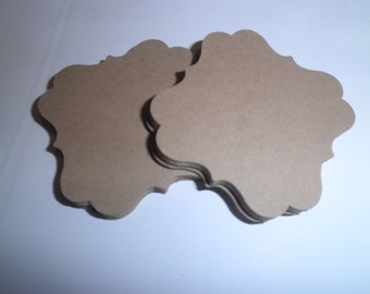 50 Fancy Square Bracket tag Die Cuts Kraft - perfect for scrapbooking,tags showers,cards, embellishments, wishing trees