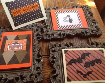 Set of 4 different Halloween Cards with envelopes.