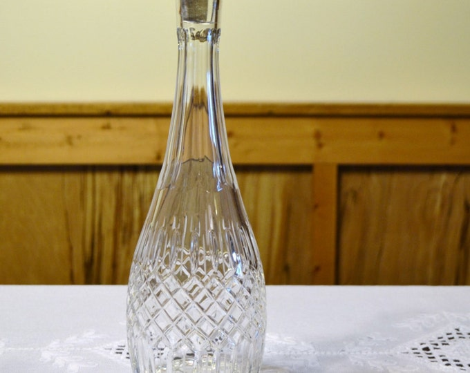 Vintage Cut Glass Decanter with Stopper Barware Wine Bottle PanchosPorch