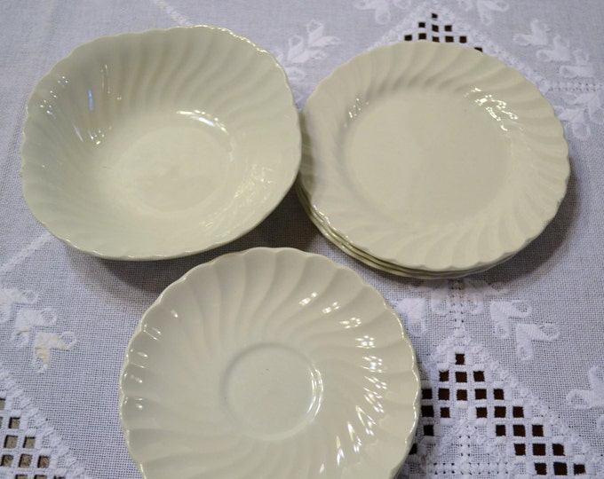 Vintage Johnson Bros Snowhite Regency Bowl Plate Saucer Set of 8 Pieces England PanchosPorch