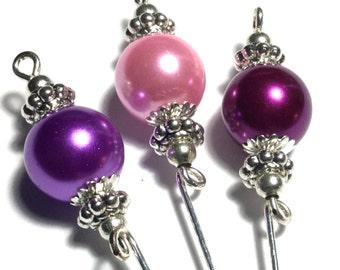 "3 x 4"" Silver Hat Pins, Glass Pearl, Pink, Purple, Mauve (HPSet 1-3)"