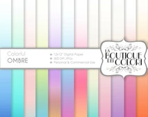 Pastel Ombre digital paper. Gradient digital papers: Soft Ombre background scrapbooking, printables, Commercial Use. pink blue green