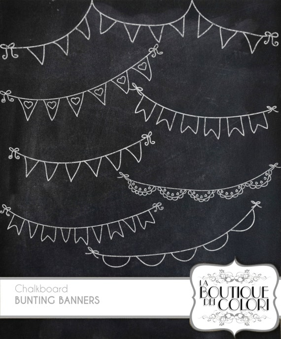 Blackboard Artwork Ideas: Chalkboard Bunting Banners Doodle Cliparts By