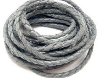 PU Leather Braided Round Cord 6mm