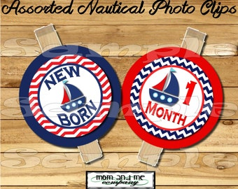 Baby Boy First year photo clip banner newborn to 12 months first birthday month banner first year banner Nautical birthday RIBBON INCLUDED