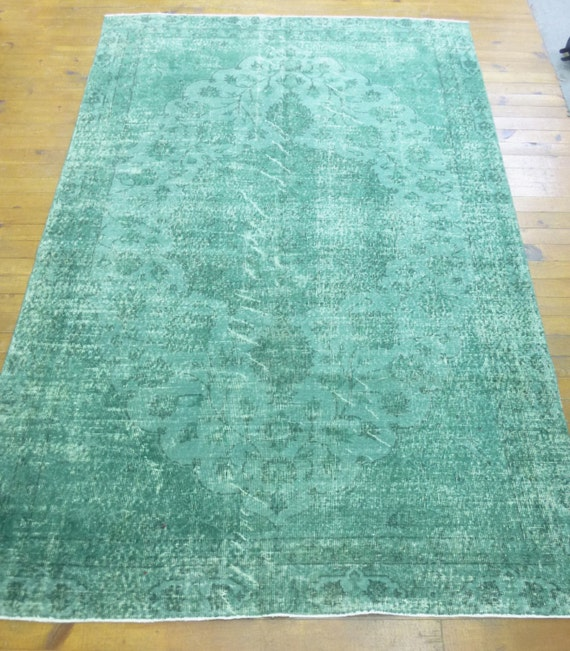 Dark Green Recolored Turkish Carpet With Floral By