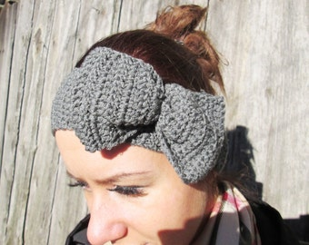 BLACK FRIDAY SALE! Ready to ship! girl gray Headband, women headband gray warmers Crochet Headband Bun Earwarmer Head Wrap  gray headband